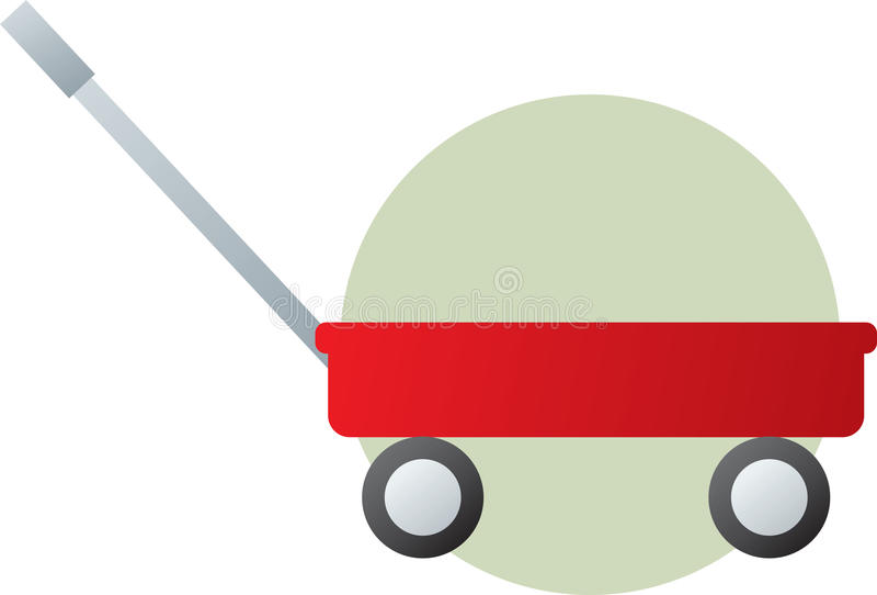 Vagone rosso che tira il giocattolo del carrello illustrazione vettoriale