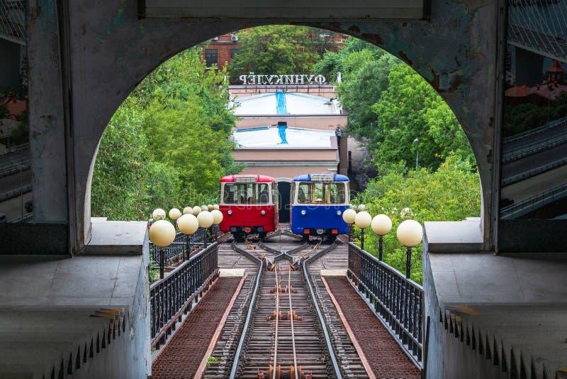 Vagoni di Vladivostok funicolari immagini stock