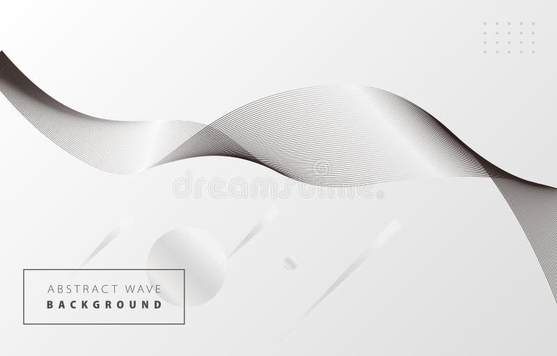 Vague abstraite blanche et noire 1 illustration stock