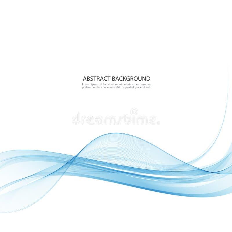 Vague abstraite bleue transparente sur le fond blanc illustration de vecteur