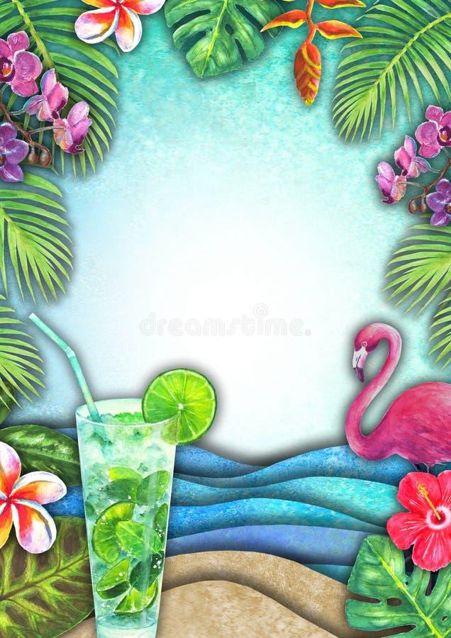 Vague abstraite de mer d'aquarelle d'été, plage de sable, plantes tropicales, mojito, fond de flamant images stock