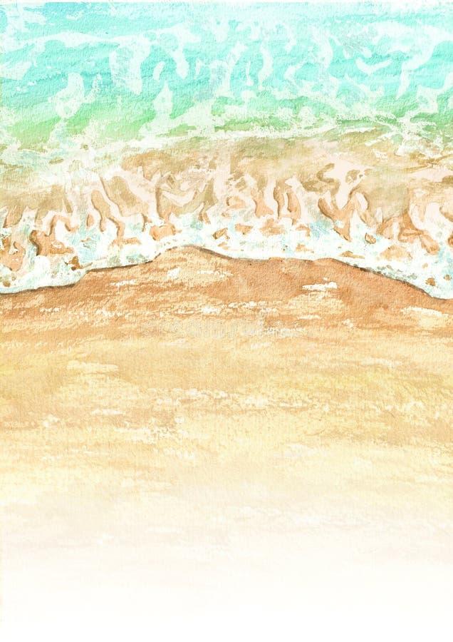 Vague avec le petit pain de mousse propre blanc dans la plage sablonneuse Illustration tirée par la main d'aquarelle illustration stock