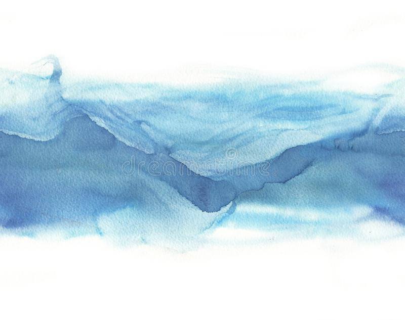 Vague bleue d'aquarelle sans couture photo stock