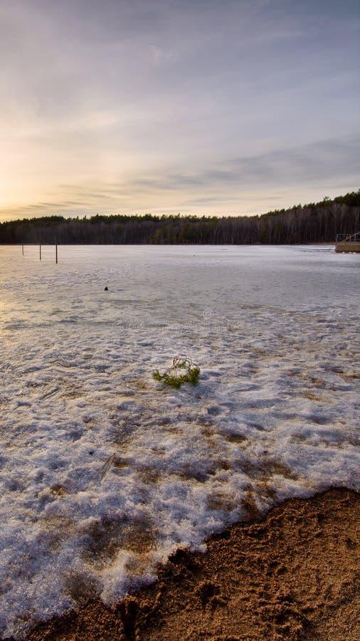 Vague congelée dans un lac à Gothenburg Suède 2018 photos stock