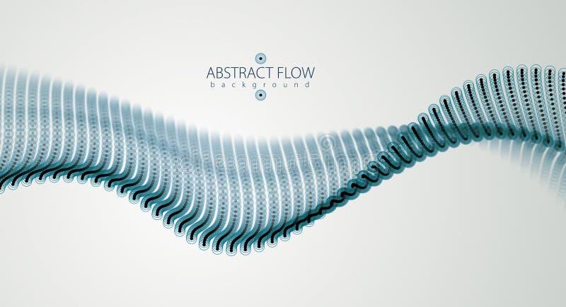 Vague débordante de particules, mouvement sain dynamique illustra du vecteur 3d illustration de vecteur