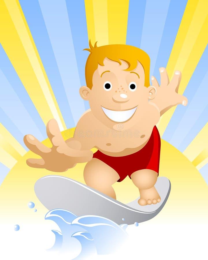vague déferlante de garçon illustration de vecteur