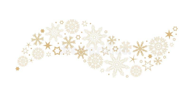 Vague d'or décorative de Noël avec des flocons de neige et des étoiles illustration libre de droits