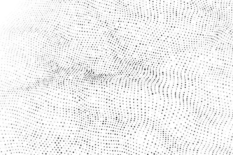 Vague 3d Vague des particules Vague futuriste de point Conception pour l'affiche Fond de vecteur de Technlogy Illustration de vec illustration libre de droits