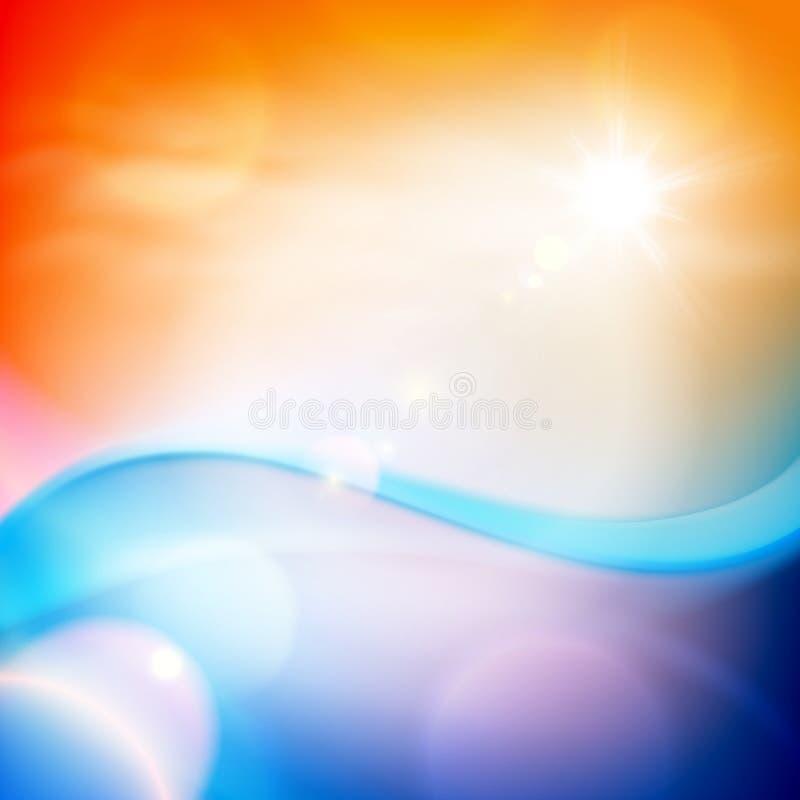 Vague d'eau dans le temps de coucher du soleil Fond orange illustration stock
