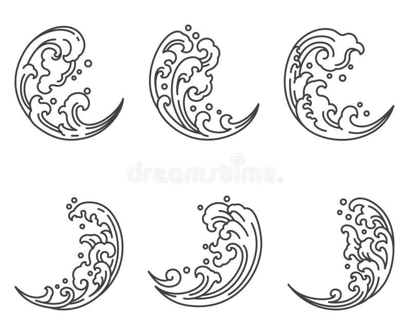 Vague d'eau orientale dans l'icône de forme de demi-lune japonais thaï illustration de vecteur