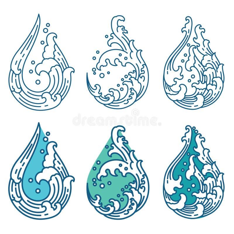 Vague d'eau orientale dans l'ic?ne de forme de gouttelette japonais tha? illustration de vecteur
