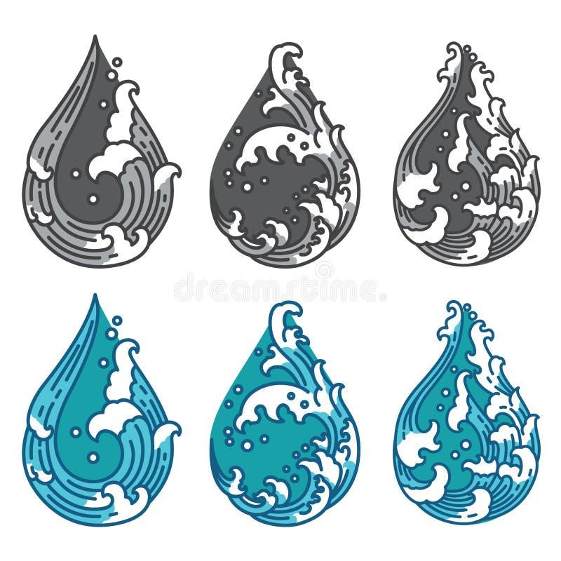 Vague d'eau orientale dans l'ic?ne de forme de gouttelette japonais tha? illustration libre de droits