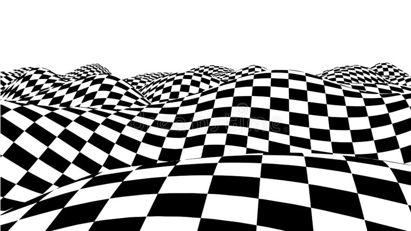 Vague d'illusion optique Les vagues d'échecs embarquent Illusions 3d noires et blanches abstraites Traits horizontaux rayures mod illustration libre de droits