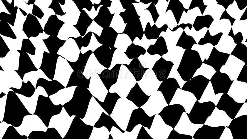 Vague d'illusion optique Les vagues d'échecs embarquent Illusions 3d noires et blanches abstraites Traits horizontaux rayures mod illustration stock