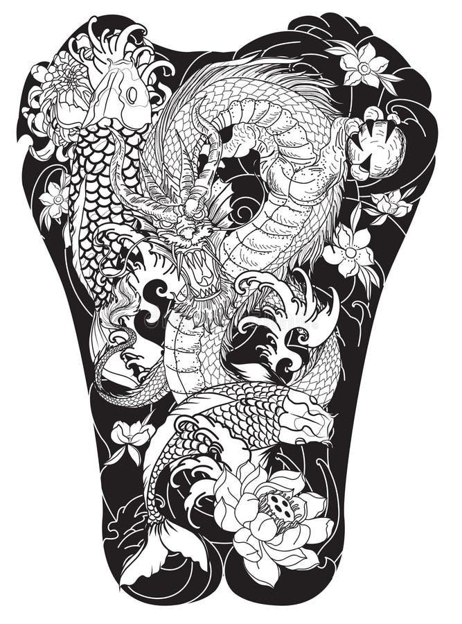 Vague de japonais pour le tatouage poissons tir s par la for Prix koi japonais