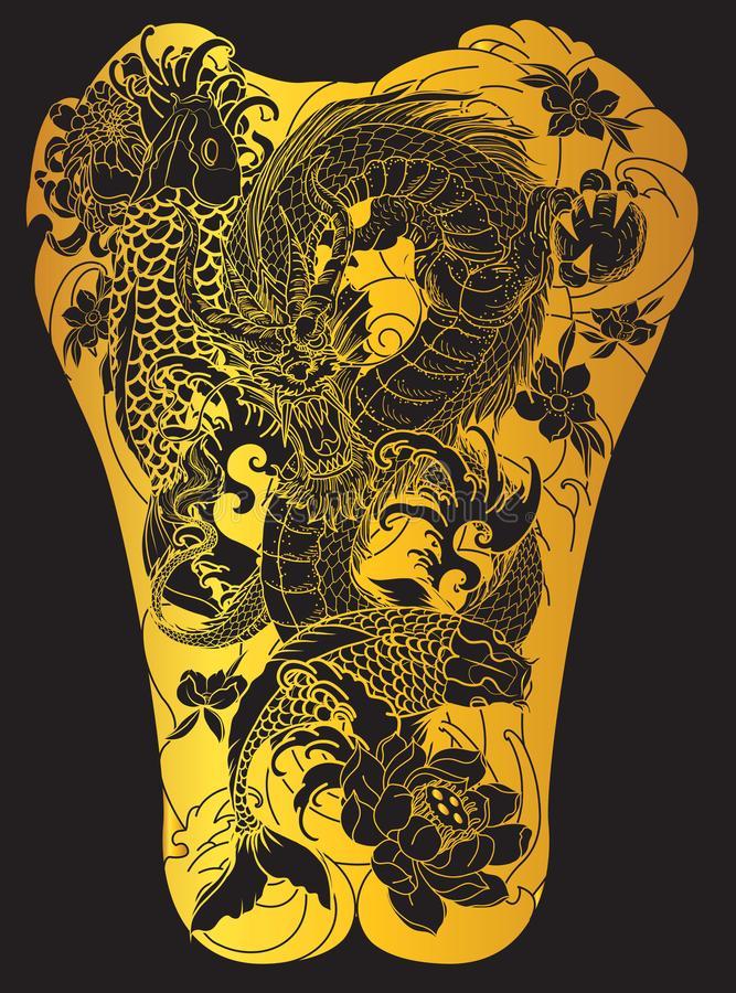 Vague de Japonais pour le tatouage poissons tirés par la main de dragon et de koi avec le tatouage de fleur pour le dos illustration stock