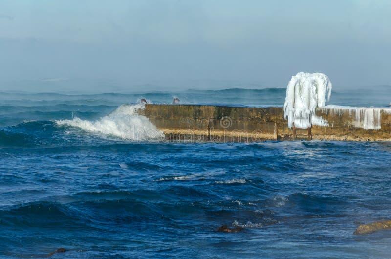 Vague de la Mer Noire en hiver photos libres de droits