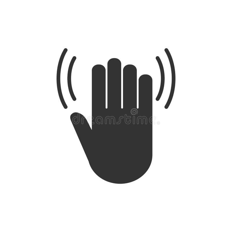 Vague de main, bonjour icône Illustration de vecteur, conception plate illustration libre de droits