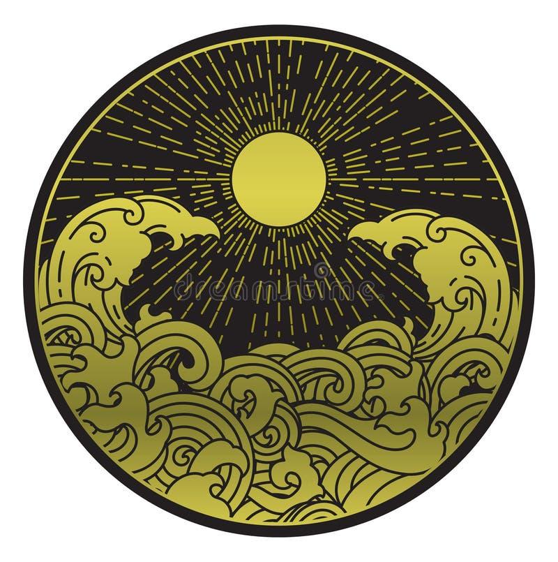 Vague de soleil et d'eau dans la forme ronde illustration stock