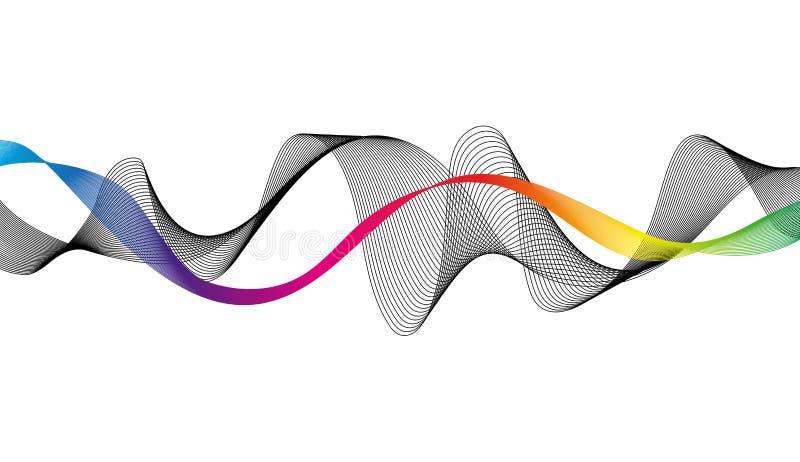 Vague des lignes colorées et noires de nombreux Rayures onduleuses abstraites sur un fond blanc d'isolement illustration libre de droits
