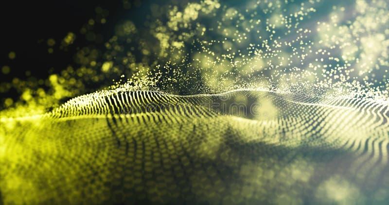 Vague des particules Fond bleu futuriste de points Technologie de données avec les particules d'or et la vague de scintillement l images stock