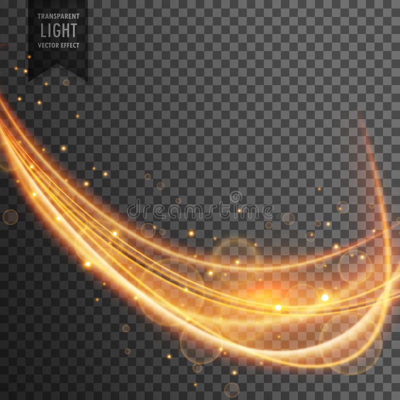 Vague dynamique d'or avec des étincelles sur le fond transparent illustration libre de droits