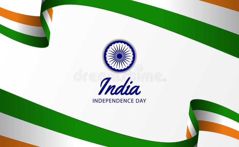 Vague hindi de drapeau de ruban de Jour de la Déclaration d'Indépendance de 15 August India illustration libre de droits
