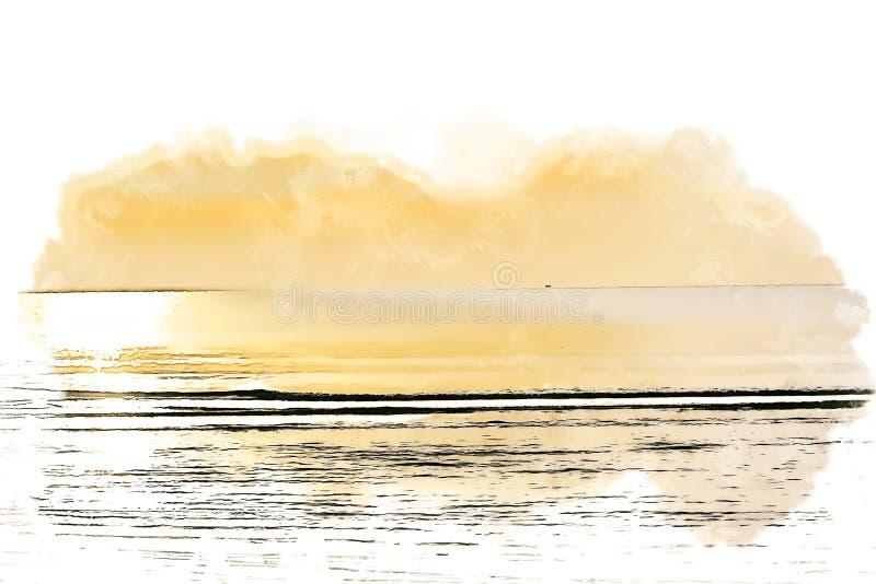 Vague molle abstraite et lever de soleil dans la peinture d'illustration d'aquarelle de matin illustration de vecteur