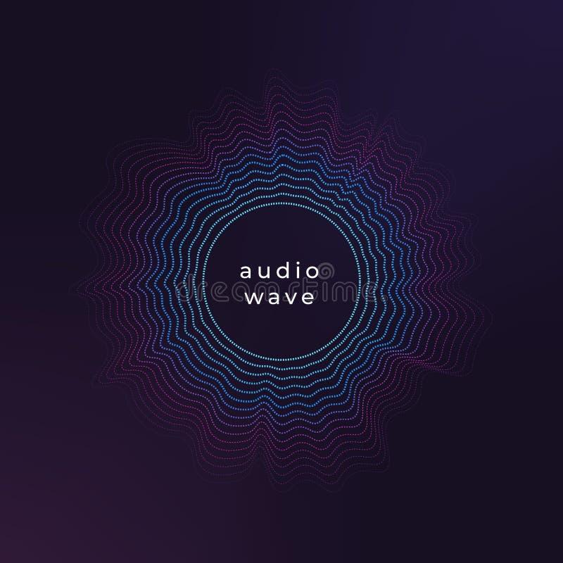 Vague saine de cercle L'ondulation abstraite de musique, les vagues audio d'amplitude jaillissent le fond de vecteur illustration libre de droits