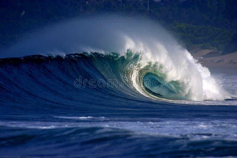 Vague surfante tubulaire se cassant sur la plage tropicale photographie stock libre de droits