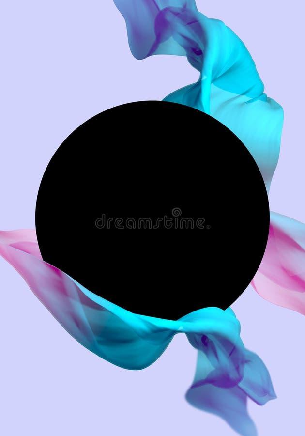 Vague volante de tissu en soie, satin de ondulation Couleur bleue et rose, fond pourpre illustration stock
