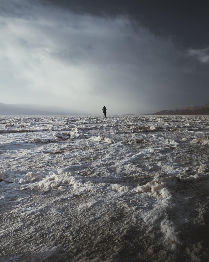 Vagueamento através dos planos de sal da bacia de Badwater no Vale da Morte em um dia nebuloso imediatamente antes do por do sol imagens de stock royalty free