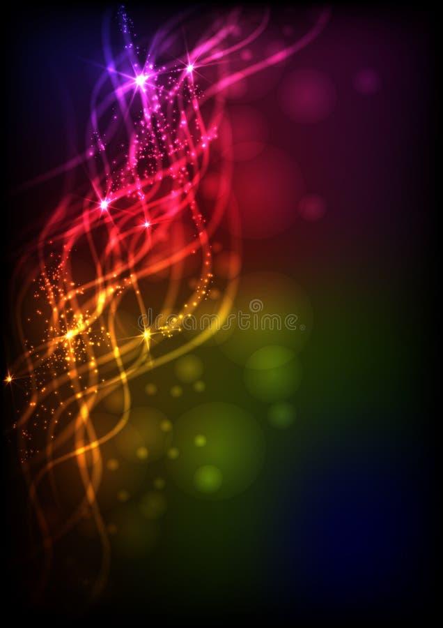 Vagues abstraites de néon. illustration de vecteur