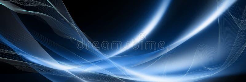 Vagues abstraites rougeoyantes bleues avec une texture de grille sur un contexte noir Beau fond panoramique illustration libre de droits