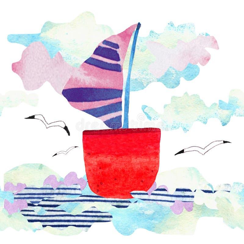 Vagues, bateau et mouette de mer d'aquarelle dans le style d'art de papier Illustration de concept de voyage photos stock