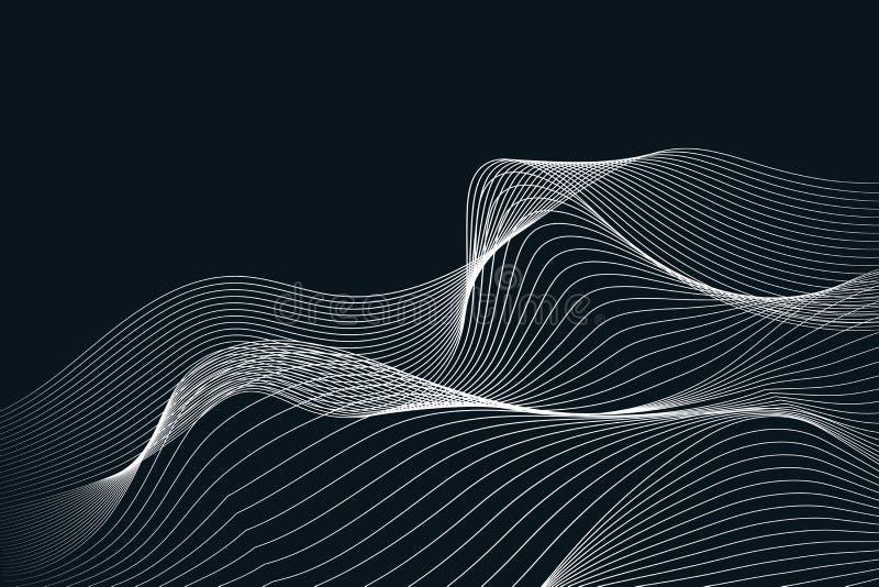 Vagues blanches grises et lignes texture de résumé de fond illustration de vecteur