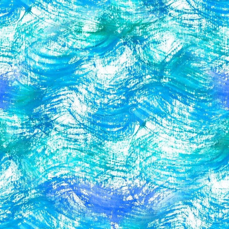 Vagues bleu-clair d'aquarelle de modèle sans couture Fond frais avec le modèle tiré par la main de l'eau illustration stock