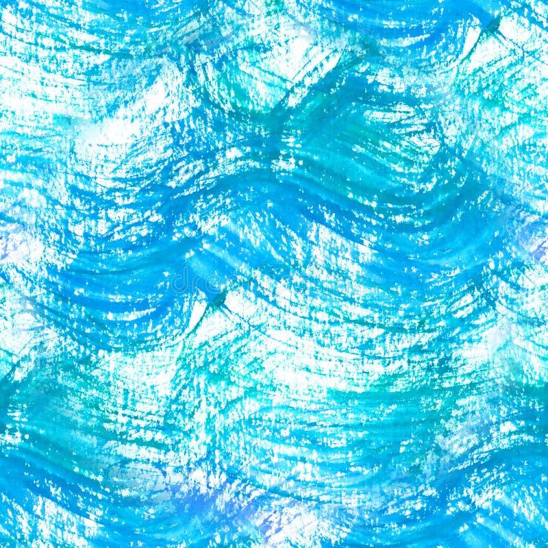 Vagues bleu-clair d'aquarelle de modèle sans couture Fond frais avec le modèle tiré par la main de l'eau illustration de vecteur