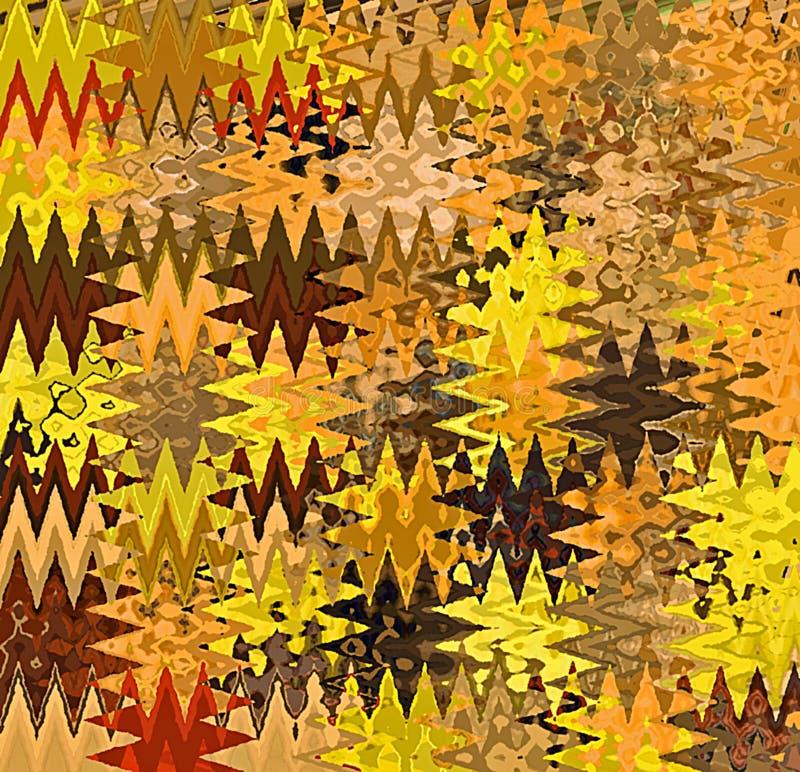 Vagues chaotiques multicolores d'abrégé sur peinture de Digital dans différentes nuances de jaune, de Brown et de fond orange illustration stock