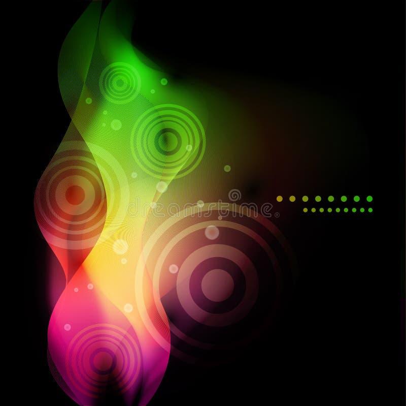 Vagues colorées abstraites sur le fond foncé illustration libre de droits