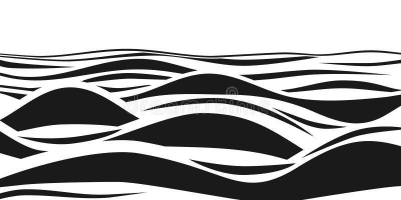 Vagues 3d rayées noires et blanches abstraites Illusion optique de vecteur Modèle d'art de ressac illustration stock