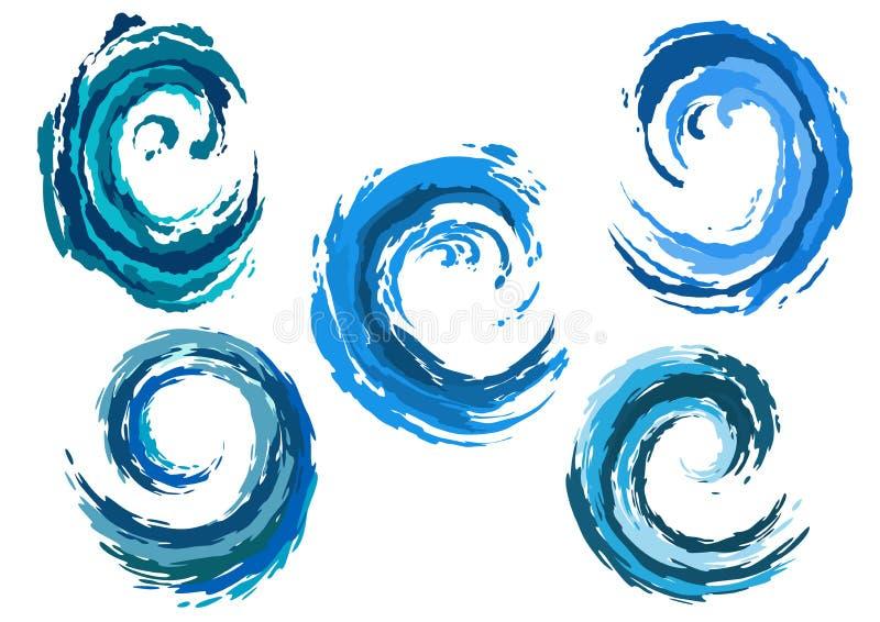 Vagues de mer arrondies par bleu réglées illustration stock