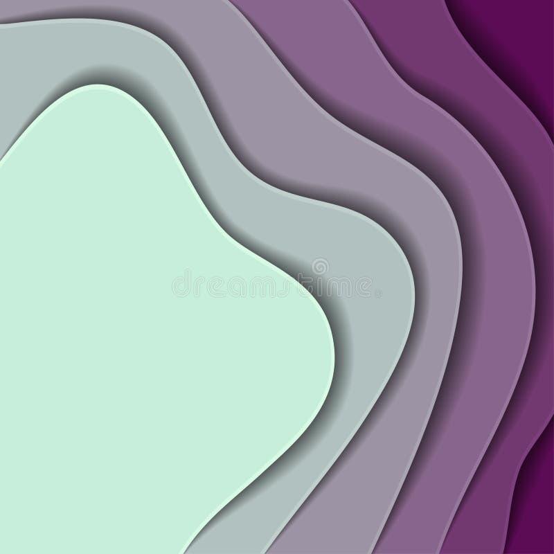 Vagues de papier colorées, texture du fond 3D des couches de profondeur Fond abstrait aux nuances de pourpre, turquoise style de  illustration de vecteur