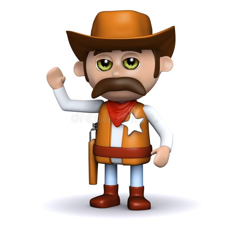 vagues de shérif du cowboy 3d bonjour illustration stock