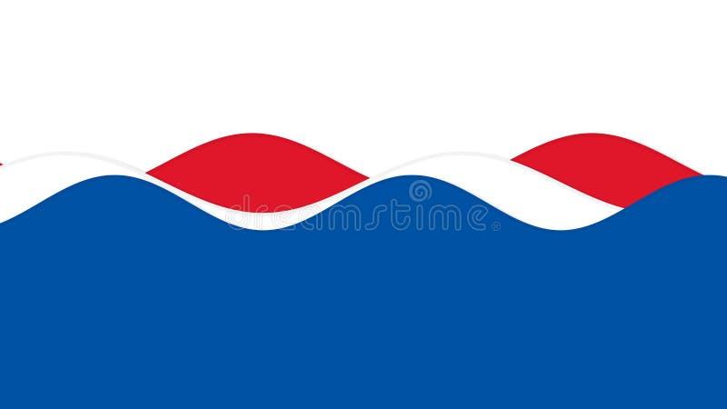 Vagues et courbes de thème coloré bleu, blanc et rouge du quatrième juillet de drapeau américain illustration libre de droits