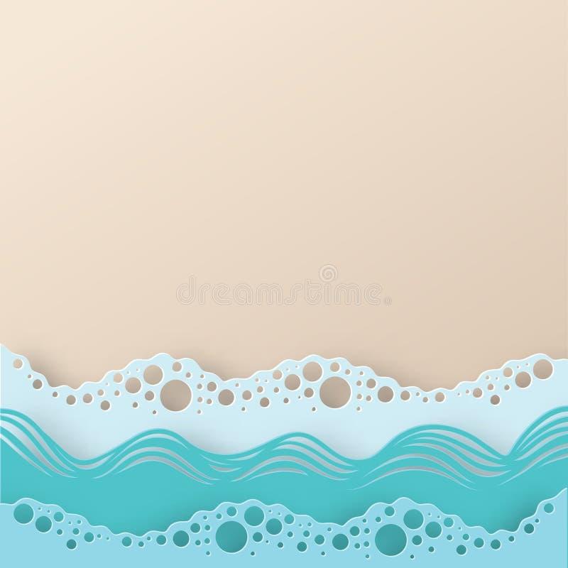Vagues et plage d'eau de papier abstraites de mer ou d'océan d'art illustration libre de droits