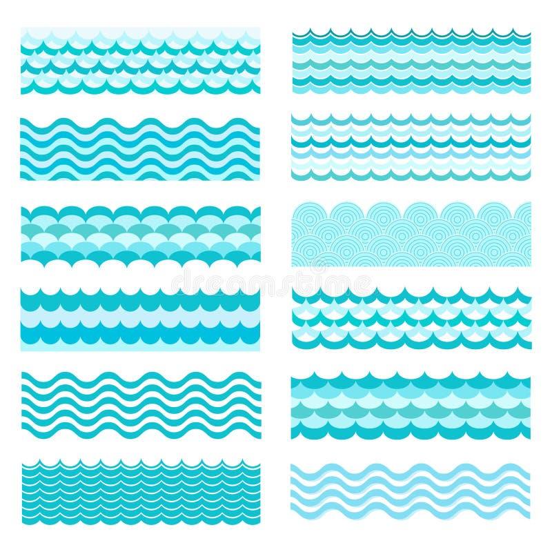 Vagues marines Conception de l'eau d'art de mer onduleuse, océan illustration stock