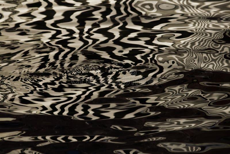 Vagues sur l'eau formant des rayures semblables à la texture du velours, l'alternance de l'or et rayures et vagues noires images stock