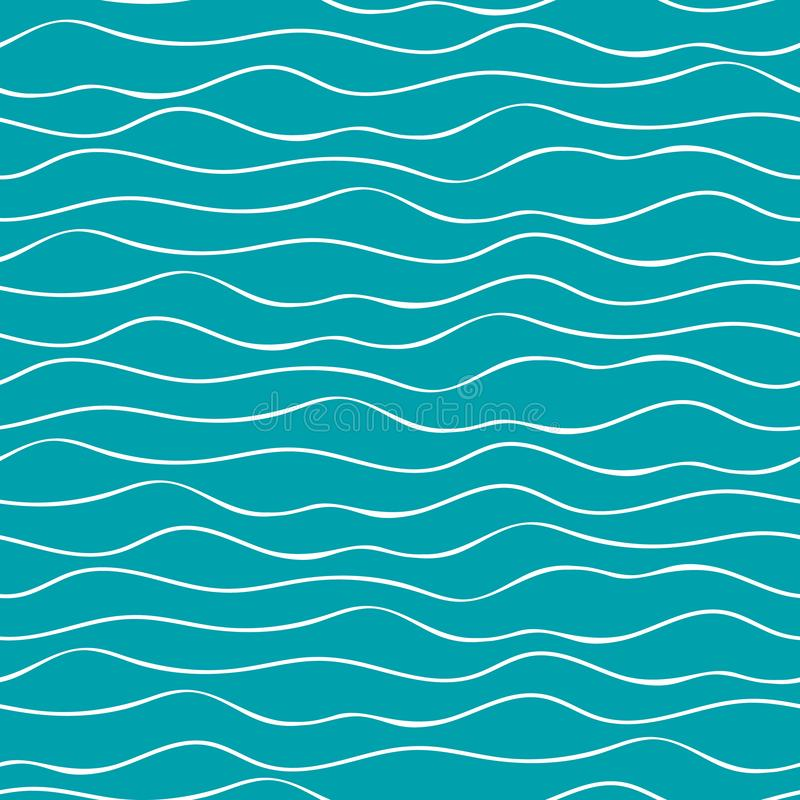 Vagues tirées par la main abstraites de mer de griffonnage Modèle géométrique sans couture de vecteur sur le fond de bleu d'océan illustration libre de droits