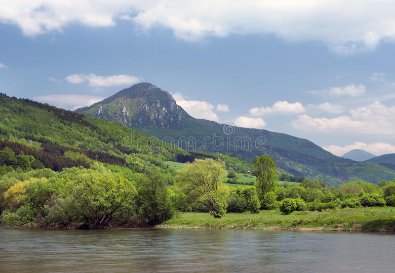 Vah river with Sip hill in backgroung royalty free stock photography